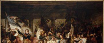 Le Maréchal Ney remet aux soldats du 76ème régiment de ligne, leur retrouvés le 7 novembre 1805