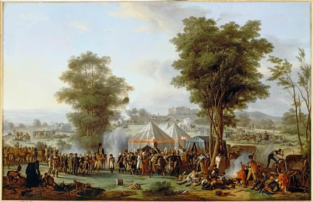 Bivouac de Napoléon à Ebersberg, 4 mai 1809. - Antoine-Pierre Mongin (1761-1827); Versailles, Château et Trianons.AKG