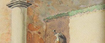 LUCIEN ROUSSELOT AQUARELLE ORIGINALE - HALTE DU 4ème RÉGIMENT DE DRAGONS EN ALSACE, -