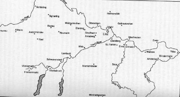 Carte montrant la vallée de la Traun et Ebelsberg