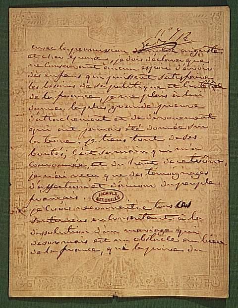 Lettre de Joséphine : Avec la permission de mon auguste époux...