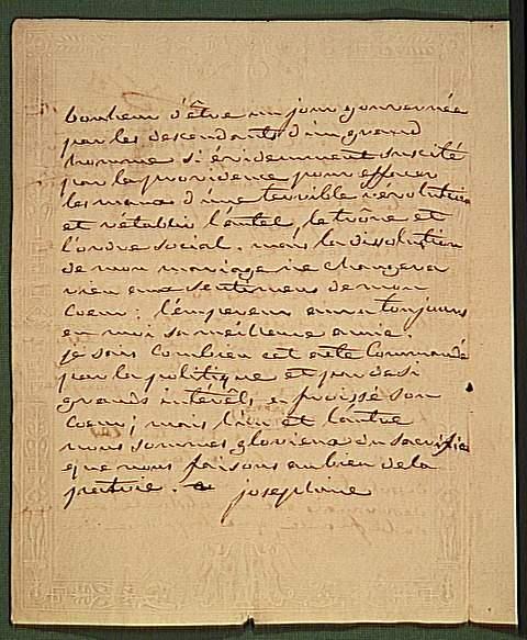 Lettre de Joséphine