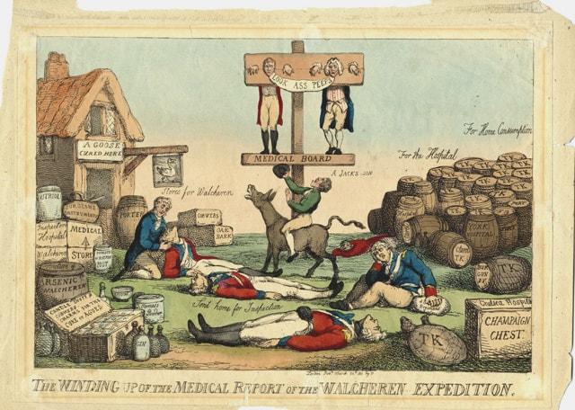 Caricature de l'époque qui cloue au pilori quelques-uns des principaux responsables du désastre (Thomas Rowlandson, 1810).