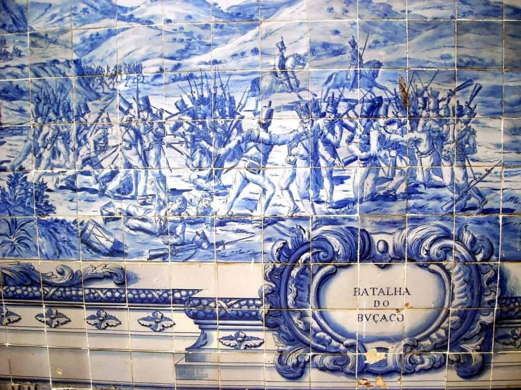 L'Azuleros montrqant la bataille de Bussaco (Matia Nacional de Bucaco)