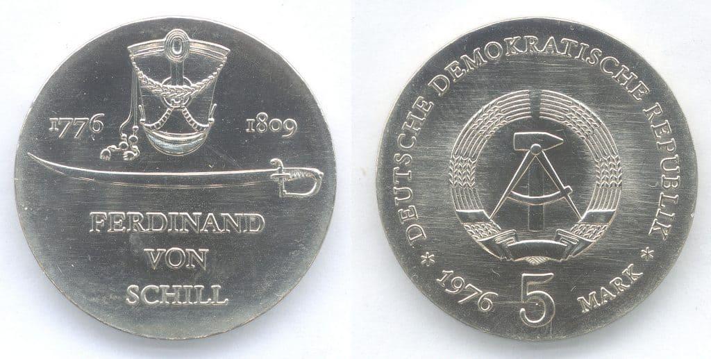 5-Mark-Médaille éditée en 1976 en DDR pour le 200e anniversaire de la naissance de Ferdinand von Schill