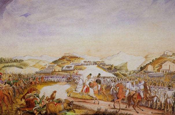 La bataille de Tolentino, 30 mars 1815. Illustration de Vincenzo Milizia, XIXe siècle. (Wikiwand)