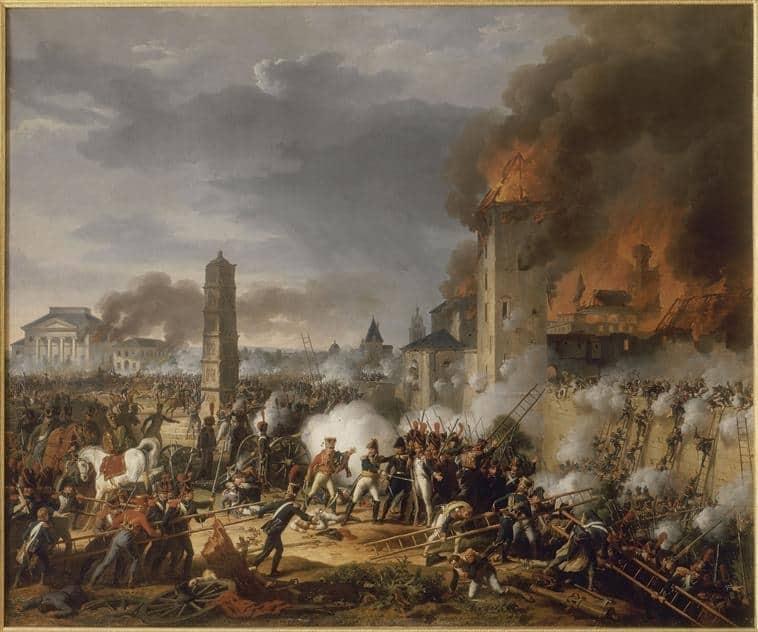 Attaque et prise de la ville de Ratisbonne par le maréchal Lannes le 23 avril 1809. D'après Thevenin