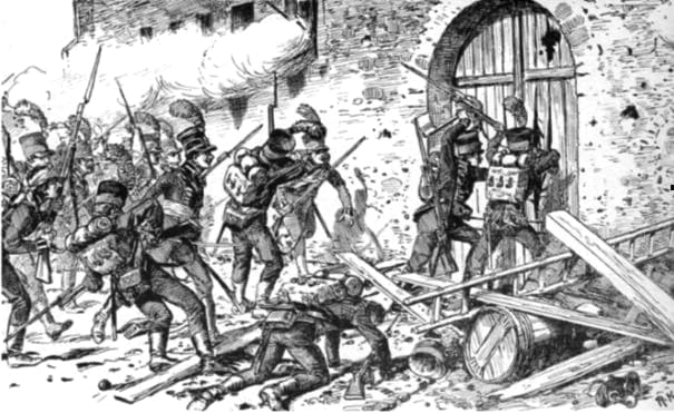 Les chasseurs wurtembergeois attaquent le château d'Eckmühl. Courtoisie T. Hemmann