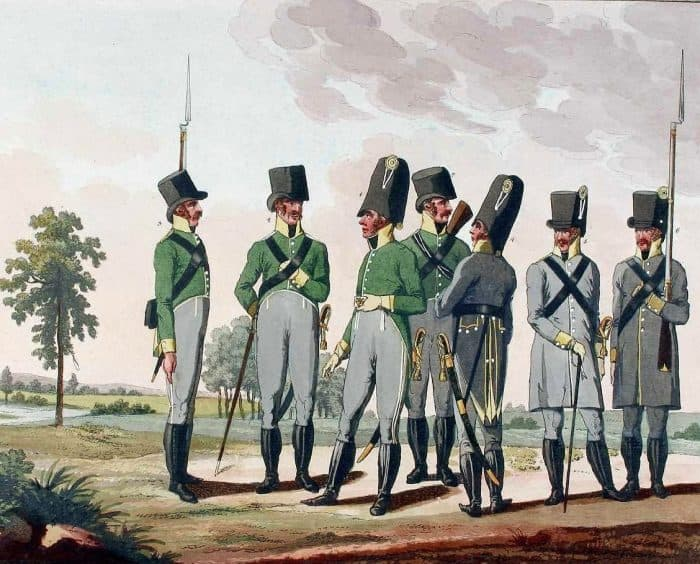 De gauche à droite : caporal, officier, chasseur, officier et troupe de la Landwehr de Salzbourg. Eder-Oesterreicher)
