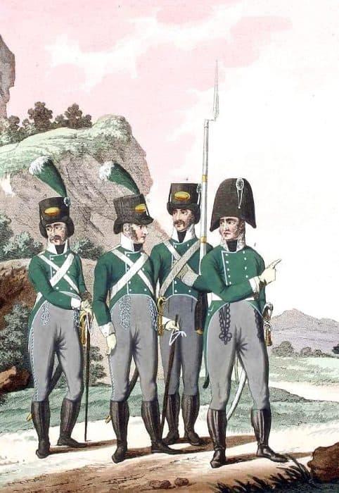 De gauche à droite : caporal, sous-officier, soldat et lieutenant colonel de la Landwehr de Styrie. Eder-Oesterreicher)