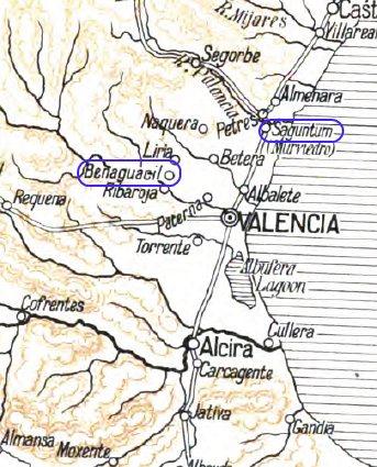 Carte de la région de Valence
