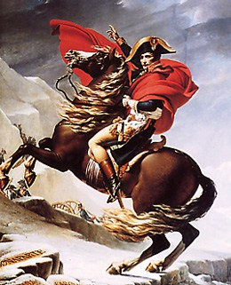 Napoléon franchit les Alpes par Jacques-Louis David