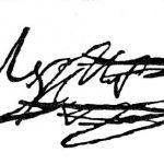 Curieuse signature, deux fois rayée et écrite une troisième fois, datée de 1813.
