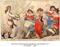 Exit Liberty or Buonaparte closing the Farce of Égalité at Saint-Cloud, near Paris - Gillray - 1799