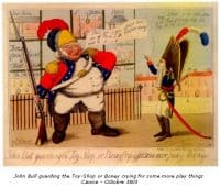 John Bull guarding the toy-shop or Boney crying for some more play things. Cawse - 1803
