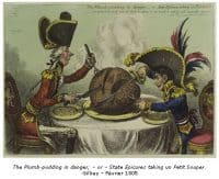 The plum-pudding in danger or States Epicures taking a petit Souper - Gillray - 1805