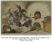 Tiddy-Doll, the Great French Gingerbread Baker, drying out a new Batch of Kings - His Man, Hopping Talley, mixing up the Dough - Gillray - Janvier 1806