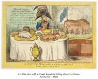 A little Man with a great Appetite siting down to Dinner. Anonyme - 1806