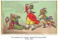 The magnanimous minister, chastising Prussian perfidy - Gillray - 1806