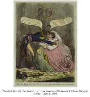 The First Kiss this ten years ! or the Meeting of Britannia and Citizen Francois - Gill Ray - 1800