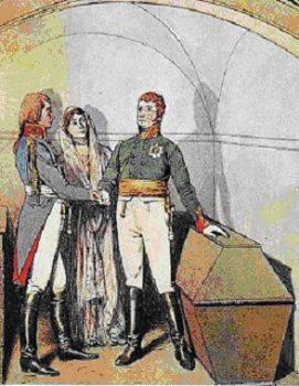 C'est la reine Louise de Prusse qui eut l'idée de cette mise en scène, qui réunit, devant le tombeau de Frédéric le Grand, à Potsdam, outre la reine, le roi de Prusse Frédéric-Guillaume III et le tsar Alexandre. Ce serment, prêté devant les restes de l'illustre souverain, devait garantir que le roi de Prusse, qui avait signé à contrecœur le traité de Potsdam, resterait fidèle à son engagement de poursuivre la lutte contre celui que les monarchies européennes n'appelaient que « l'Usurpateur », c'est-à-dire Napoléon. (DR)
