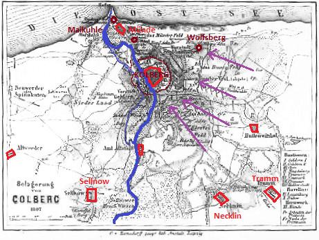 Carte du siège de Colberg