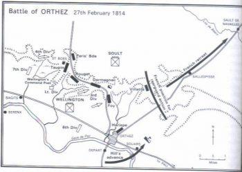 Plan de la bataille d'Orthez